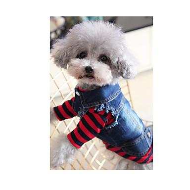 رخيصةأون ملابس وإكسسوارات الكلاب-كلب هوديس جواكيت جينز الشتاء ملابس الكلاب أزرق كوستيوم الدنيم جينزات ريفي موضة XS S M L XL XXL