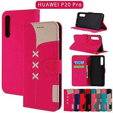 voordelige Huawei Y-serie hoesjes / covers-hoesje Voor Huawei Huawei P20 / Huawei P20 Pro / Huawei P30 Portemonnee / Kaarthouder / met standaard Volledig hoesje Effen PU-nahka