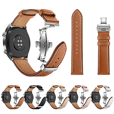 olcso Nézd Zenekarok Huawei-Nézd Band mert Huawei Watch GT Huawei Sportszíj / Butterfly csat Rozsdamentes acél / Valódi bőr Csuklópánt
