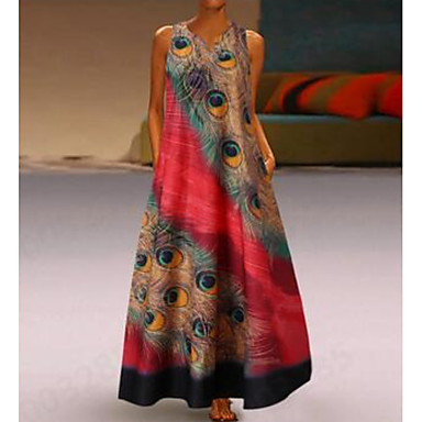 Women Plus Size Summer V Neck Floral L Sleeveless Butterfly Party Maxi Dress