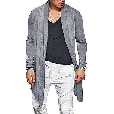 cheap Men's Sweaters & Cardigans-Men's Solid Colored Long Sleeve EU / US Size Cardigan Sweater Jumper, Off Shoulder Black / Navy Blue / Gray US36 / UK36 / EU44 / US38 / UK38 / EU46 / US40 / UK40 / EU48