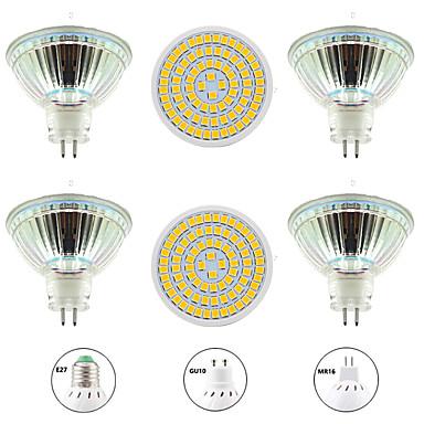 olcso LED izzók-6db 8 W LED szpotlámpák 800 lm GU10 MR16 E26 / E27 80 LED gyöngyök SMD 2835 Új design Meleg fehér Fehér 220-240 V 110-120 V