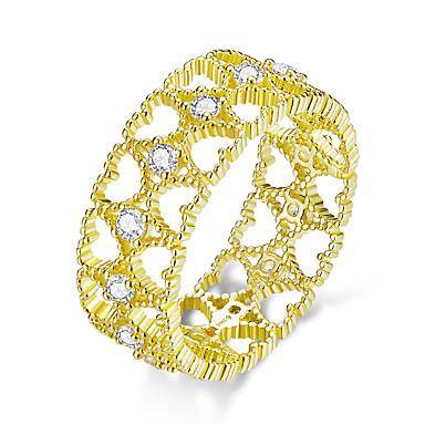 رخيصةأون خواتم-الدانتيل نمط خواتم الاصبع واسعة للنساء 925 الفضة الاسترليني الذهب اللون القلب تكويم عصابة المجوهرات الكورية