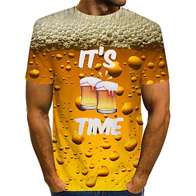 cheap Men's Tees & Tank Tops-Men's Daily Basic T-shirt - Plain Round Neck Yellow / Short Sleeve