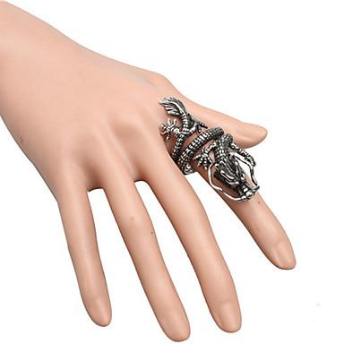 رخيصةأون خواتم-رجالي خاتم 1PC أسود الصلب التيتانيوم دائري عتيق أساسي موضة مناسب للبس اليومي مجوهرات تنين كوول