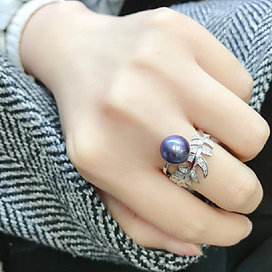povoljno Prstenje-Žene Otvori Prsten Prilagodljivi prsten Slatkovodni biser 1pc Dark Blue Biseri S925 Sterling Silver Cirkularno Luksuz Klasik Elegantno Vjenčanje Party Jewelry Leaf Shape