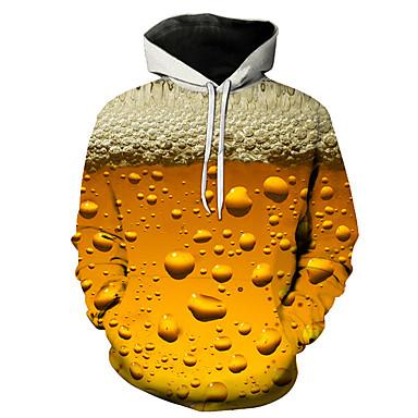 رخيصةأون كنزات هودي رجالي-هوديي رجالي مع قبعة ألوان متناوبة / 3D كاجوال / أناقة الشارع