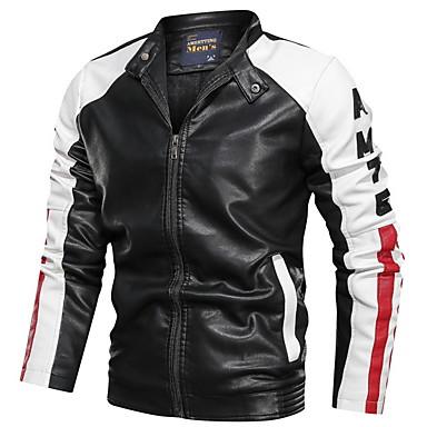 Męskie Codzienny Regularny Skórzana kurtka, Kolorowy blok Kołnierz stawiany Długi rękaw PU Niebieski / Czarny / Czerwony