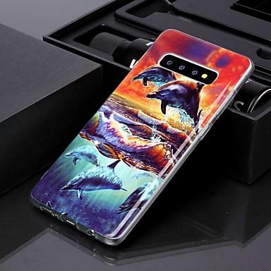 Недорогие Чехлы и кейсы для Galaxy S-чехол для samsung galaxy s10 plus / galaxy s10 e imd / выкройка задней обложки закат дельфин тпу для s8 / s8 plus / s9 / s9 plus / s10