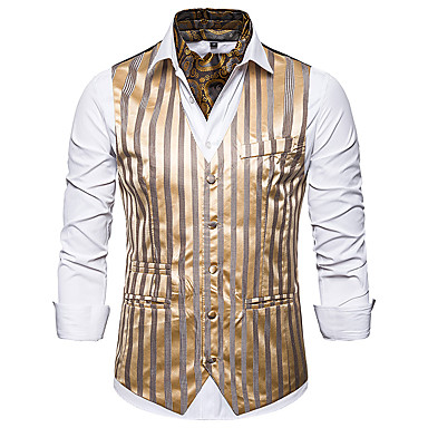 رخيصةأون سترات و بدلات الرجال-رجالي أبيض أسود رمادي US36 / UK36 / EU44 US38 / UK38 / EU46 US42 / UK42 / EU50 Vest هندسي V رقبة نحيل