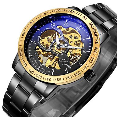 رخيصةأون ساعات الرجال-WINNER رجالي ساعة الهيكل ساعة المعصم ووتش الميكانيكية داخل الساعة أتوماتيك ستانلس ستيل أسود / فضة 30 m مقاوم للماء نقش جوفاء مضيء مماثل ترف عتيق - أسود ذهبي-أسود فضي-أسود / أداة تحديد المسافات بسرعة