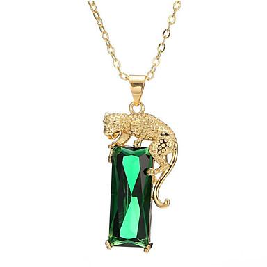 رخيصةأون قلادات-نسائي أخضر عقيق يماني قلائد الحلي طويل Tiger موضة نحاس مطلية بالذهب فاتح أخضر 40+5 cm قلادة مجوهرات 1PC من أجل هدية مناسب للبس اليومي