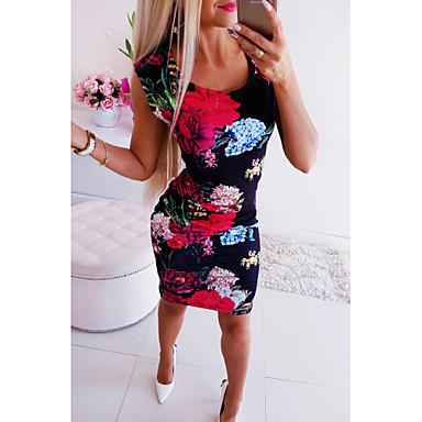 cheap Bodycon Dresses-Women's Bodycon Dress - Sleeveless Floral Print U Neck Basic Rainbow S M L XL