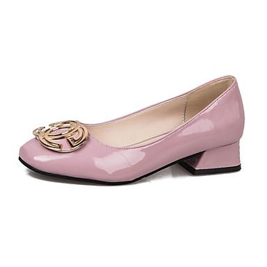 Недорогие Женская обувь на каблуках-Жен. Обувь на каблуках На толстом каблуке Квадратный носок Полиуретан Минимализм Лето Черный / Миндальный / Розовый