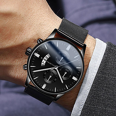 cheap Men's Watches-Men's Dress Watch Quartz Modern Style Stylish Stainless Steel Black 30 m Water Resistant / Waterproof Calendar / date / day Casual Watch Analog Luxury Fashion - Black Rose Gold Blue One Year Battery