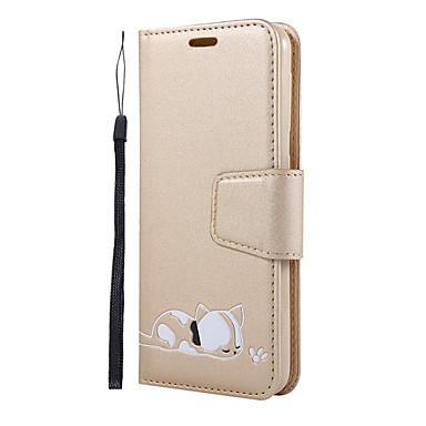 voordelige Galaxy A7 hoesjes / covers-hoesje Voor Samsung Galaxy S9 / A7 / J6 Portemonnee / Kaarthouder / met standaard Volledig hoesje Effen / Kat / Cartoon PU-nahka