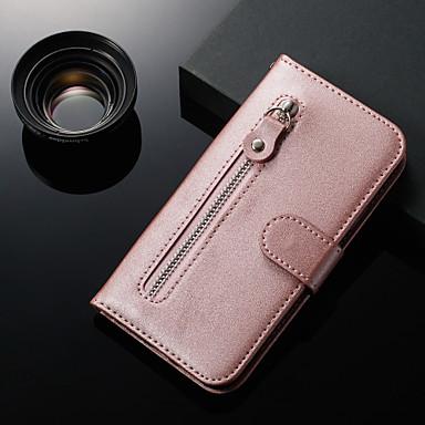Недорогие Чехлы и кейсы для LG-Кейс для Назначение LG LG Stylo 4 / LG Stylo 5 / LG K40 Кошелек / Бумажник для карт / со стендом Чехол Однотонный Кожа PU