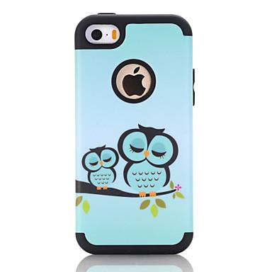 voordelige iPhone-hoesjes-hoesje Voor Apple Schokbestendig Achterkant Houtnerf / dier / Cartoon TPU / PC