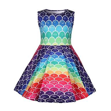 Недорогие Платья девушки-Дети Девочки Контрастных цветов Платье Цвет радуги