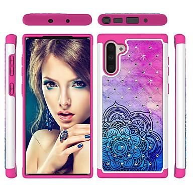 voordelige Galaxy Note-serie hoesjes / covers-hoesje Voor Samsung Galaxy Note 9 / Galaxy Note 10 / Galaxy Note 10 Plus Schokbestendig / Strass / Patroon Achterkant Bloem TPU / PC