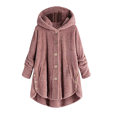 cheap Women's Outerwear-Women's Daily Fall & Winter Regular Coat, Solid Colored Hooded Long Sleeve Polyester Wine / Light Brown / Light gray