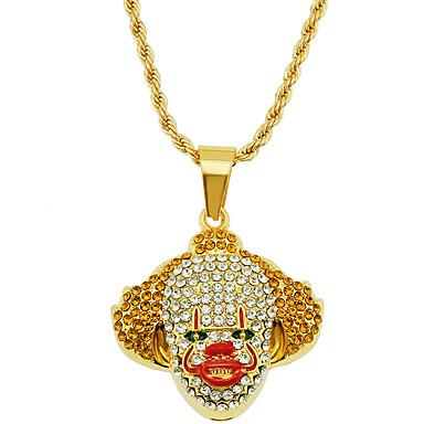 Недорогие Ожерелья-Муж. Ожерелья с подвесками Цепочка Классический клоун Массивный модный Камни Мода Хром Искусственный бриллиант Золотой 75 cm Ожерелье Бижутерия 1шт Назначение / длинное ожерелье