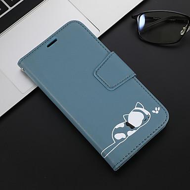 Недорогие Чехлы и кейсы для Xiaomi-Кейс для Назначение Xiaomi Xiaomi Redmi Note 6 / Xiaomi Redmi 6 Pro / Xiaomi Redmi Note 7 Кошелек / Бумажник для карт / со стендом Чехол Кот Кожа PU