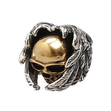 رخيصةأون خواتم-رجالي خاتم 1PC أسود الصلب التيتانيوم دائري عتيق أساسي موضة مناسب للبس اليومي مجوهرات جمجمة أجنحة الملاك كوول