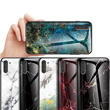 Недорогие Чехлы и кейсы для Galaxy Note-Кейс для Назначение SSamsung Galaxy Note 9 / Note 8 / Galaxy Note 10 Защита от удара / С узором Кейс на заднюю панель Мрамор ТПУ / Закаленное стекло