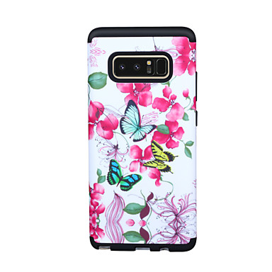 ieftine Carcase / Huse Galaxy Note Series -Maska Pentru Samsung Galaxy Note 9 / Note 8 Anti Șoc Capac Spate Model Geometric / Floare / culoare Gradient TPU / PC