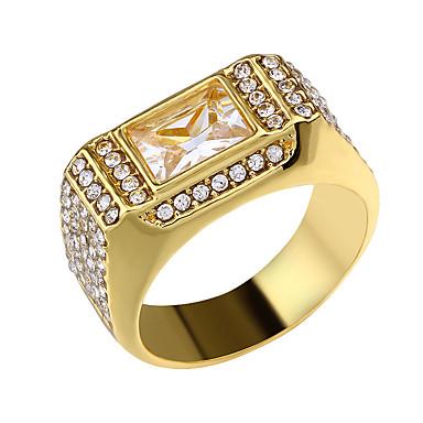 رخيصةأون خواتم-رجالي خاتم 1PC ذهبي تقليد الماس سبيكة مستطيل ترف كلاسيكي عتيق مناسب للبس اليومي مدرسة مجوهرات فينتاج