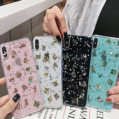 voordelige iPhone-hoesjes-hoesje voor apple iphone xs / iphone xr / iphone xs max / x / 6/7 / 6plus / 7plus doorschijnend / patroon achterkant transparant / sky pu leer
