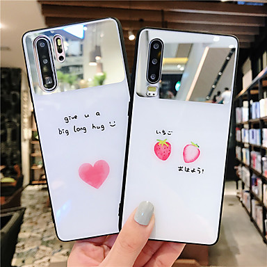 cheap Huawei Mate Cases / Covers-Case For Huawei Huawei Nova 4 / Huawei nova 4e / Huawei P20 Mirror / Ultra-thin / Pattern Back Cover Food / Word / Phrase / Heart TPU / PC