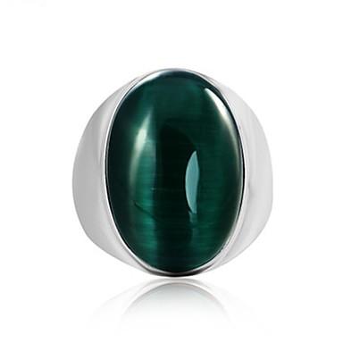 رخيصةأون خواتم-رجالي خاتم الأحجار الكريمة 1PC كوفي أحمر أخضر الصلب التيتانيوم دائري عتيق أساسي موضة مناسب للبس اليومي مجوهرات
