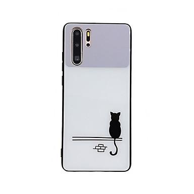 voordelige Huawei Mate hoesjes / covers-hoesje Voor Huawei Huawei Nova 4 / Huawei nova 4e / Huawei P20 Spiegel / Ultradun / Patroon Achterkant Kat / dier / Cartoon TPU / PC