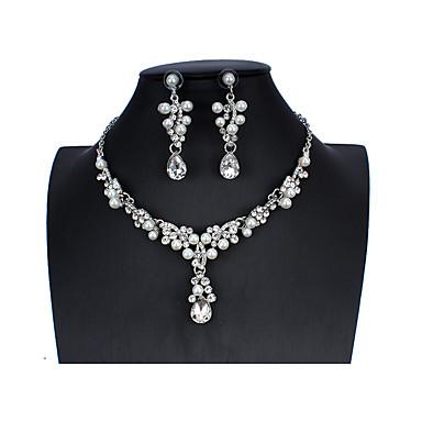 Aquarius Bridal Wedding Pearl Drop Dangle CZ Earrings