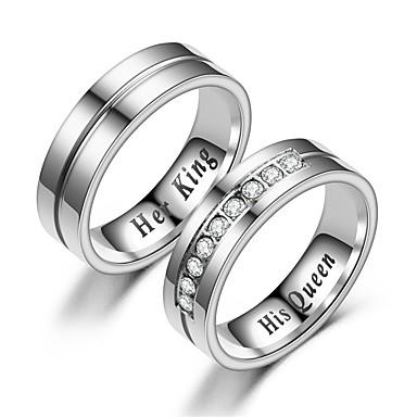 olcso Gyűrű-párok-Páros Páros gyűrűk Gyűrű 1db Fehér Ezüst Rozsdamentes acél Körkörös Vintage Alap Divat Ígéret Ékszerek Korona Menő