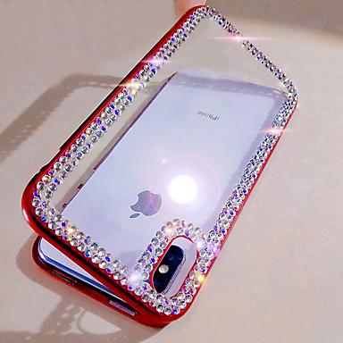 رخيصةأون أغطية أيفون-غطاء من أجل Apple iPhone XS / iPhone XR / iPhone XS Max حجر كريم / اصنع بنفسك غطاء كامل للجسم بريق لماع زجاج مقوى / ألمنيوم