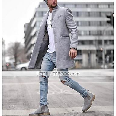 povoljno Muške jakne-Muškarci Dnevno Normalne dužine Kaput, Jednobojni Ruska kragna Dugih rukava Poliester Crn / Plava / Sive boje / Slim