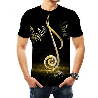 hesapli Erkek modası-Erkek Tişört Desen, 3D Temel Siyah