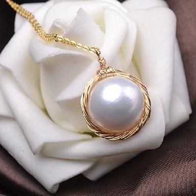 olcso Medál nyakláncok-Női Édesvízi gyöngy Nyaklánc medálok Sodrott Barokk Gyöngy Arannyal bevont Arany 45 cm Nyakláncok Ékszerek 1db Kompatibilitás Ajándék Napi Szabadság Ígéret Fesztivál