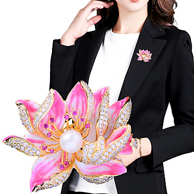 povoljno Broševi-Žene Kubični Zirconia Broševi Cvijet Stilski Jednostavan slatko Moda Biseri Broš Jewelry Zlatan Za Vjenčanje Party Angažman Dar Rad