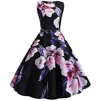 cheap Vintage Dresses-Women's A Line Dress - Sleeveless Floral Black S M L XL XXL
