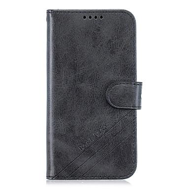 رخيصةأون LG أغطية / كفرات-غطاء من أجل LG / موتورولا / OnePlus LG V50 / LG K30 / LG K10 2018 محفظة / حامل البطاقات / مع حامل غطاء كامل للجسم لون سادة جلد PU