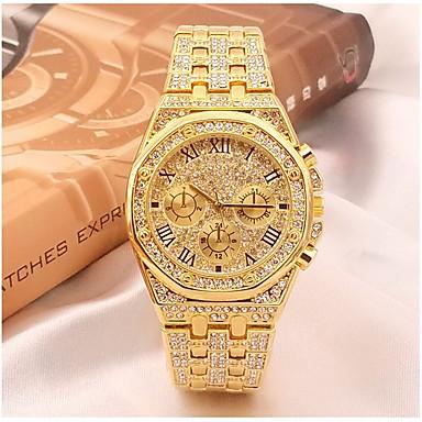 povoljno Luksuzni satovi-Muškarci Sat uz haljinu Japanski Kvarc asfaltirati Nehrđajući čelik Srebro / Zlatna 30 m Kronograf Casual sat imitacija Diamond Analog Luksuz Vještački dijamant Moda - Zlato Srebro Dvije godine