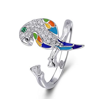 رخيصةأون خواتم-925 الفضة الاسترليني مضيئة مكعب الزركون الببغاء قابل للتعديل حجم الخواتم للنساء مجوهرات الزفاف الاشتباك البعد 2CM * 1CM