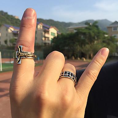 رخيصةأون خواتم-رجالي عصابة الفرقة خاتم 1PC فضي الصلب التيتانيوم عبارة عتيق شائع مناسب للحفلات مناسب للبس اليومي مجوهرات أشكال النحت صليب