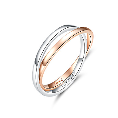 رخيصةأون خواتم-حلقة لونين خواتم الاصبع دائرة مزدوجة لمحبي زوجين حقيقي 925 الفضة الاسترليني المجوهرات الاشتباك