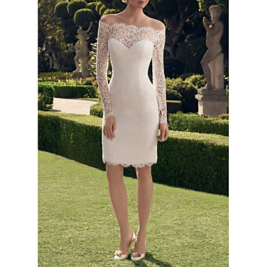 cheap Wedding Dresses-Sheath / Column Off Shoulder Short / Mini Lace Long Sleeve Vintage See-Through Made-To-Measure Wedding Dresses with Lace Insert 2020