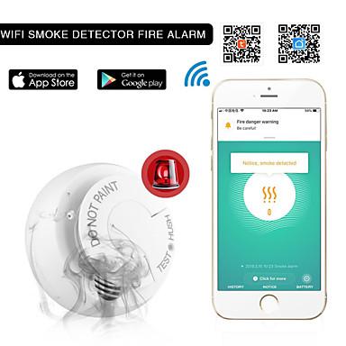 olcso Biztonsági érzékelők-wifi füstérzékelő füstjelző Tuya graffiti app intelligens otthon